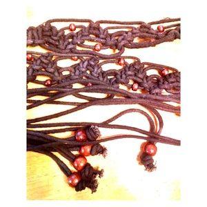 Vintage Black Macrame Tie Belt with Fringe Beads